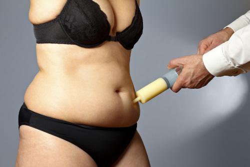 Femme qui fait semblant de se faire aspirer la graisse du ventre avec une grosse seringue pour représenter une liposuccion